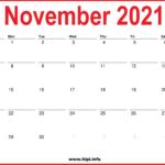 2021 November Calendar Printable – Monthly Calendar