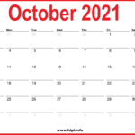 2021 Monthly Calendars -   October, November, December 2021