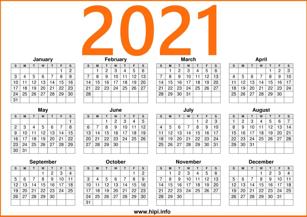 2021 Printable Calendar Free - Free Download - Hipi.info