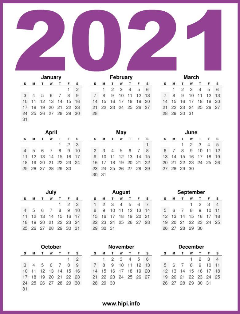 Printable 2021 Calendar - 12 Month Calendar