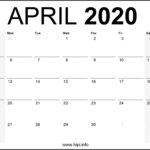April 2020 Calendar Printable Monthly - Free Download