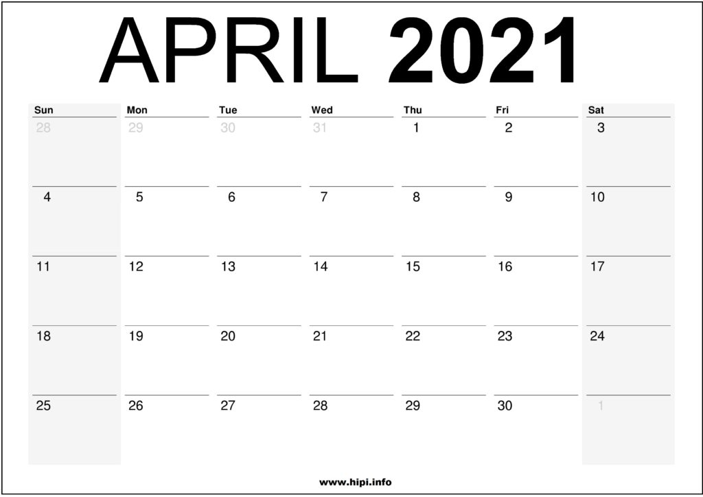 April 2021 Calendar Printable - Monthly Calendar Free Download