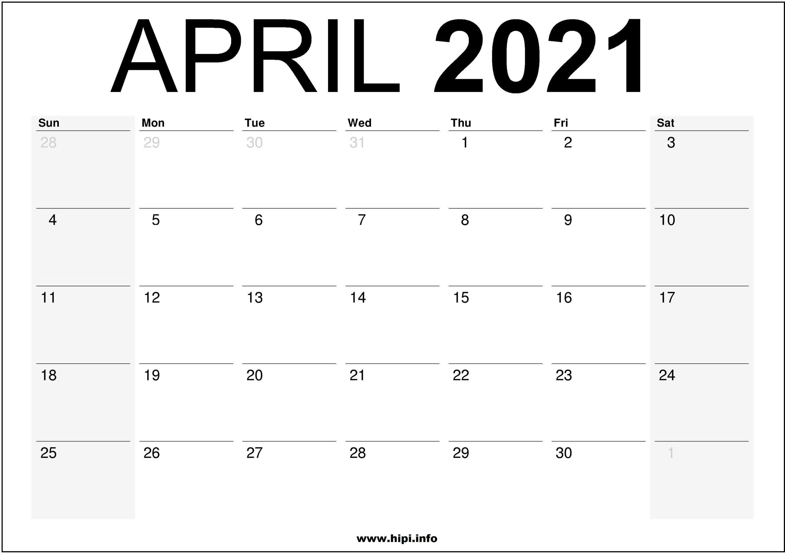 April 2021 Calendar Printable - Monthly Calendar Free ...