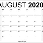 August 2020 Calendar Printable Monthly – Free Download