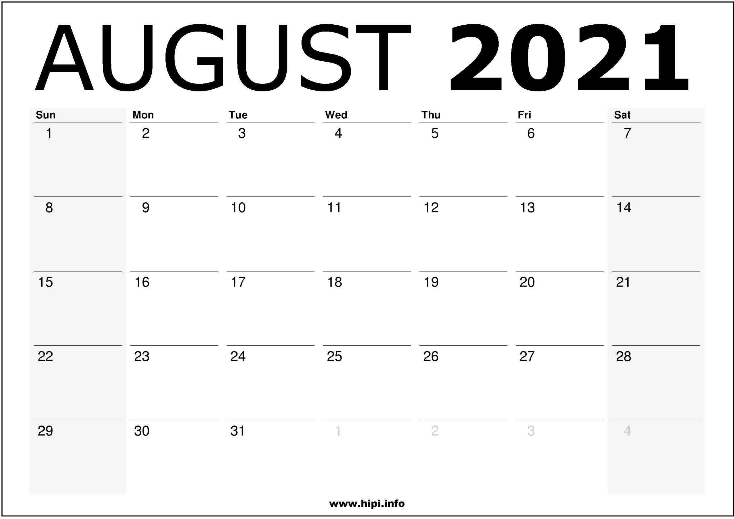 August 20 Calendar Printable – Monthly Calendar Free Download ...