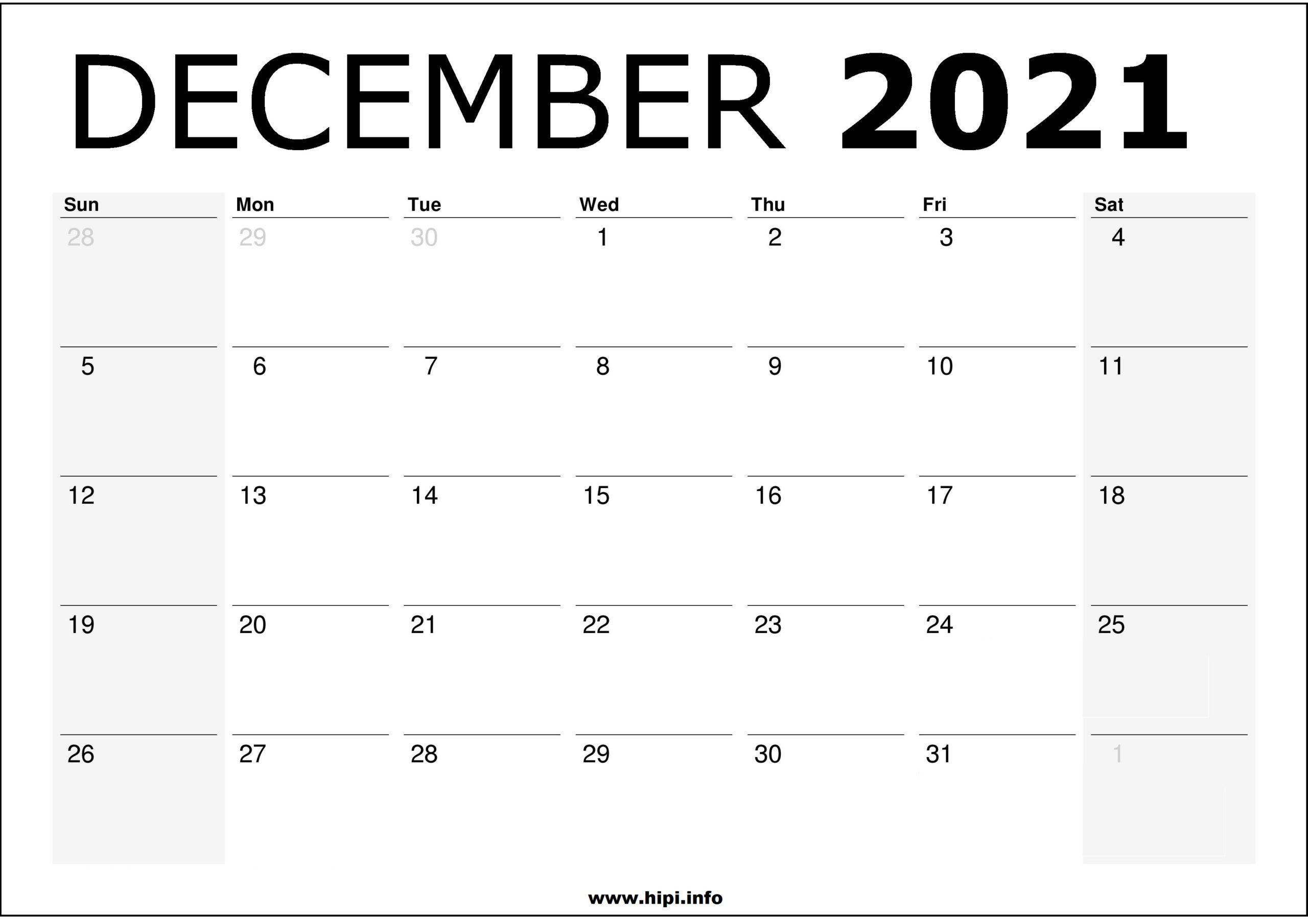 December 2021 Calendar Printable - Monthly Calendar Free ...