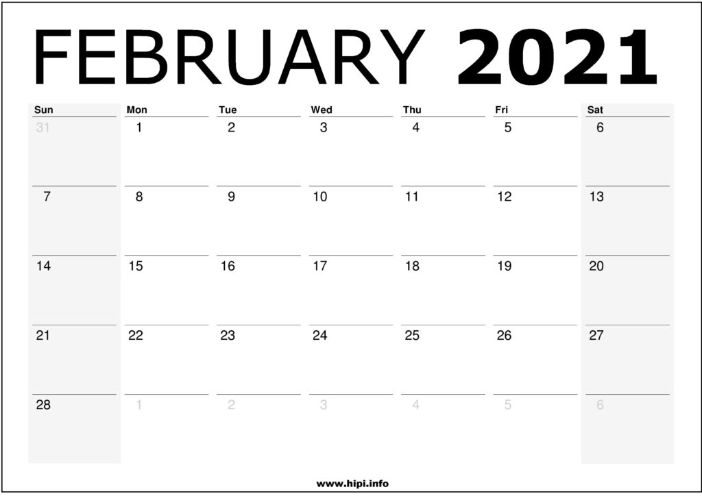 February 2021 Calendar Printable – Monthly Calendar Free Download