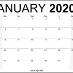 January 2020 Calendar Printable Monthly – Free Download