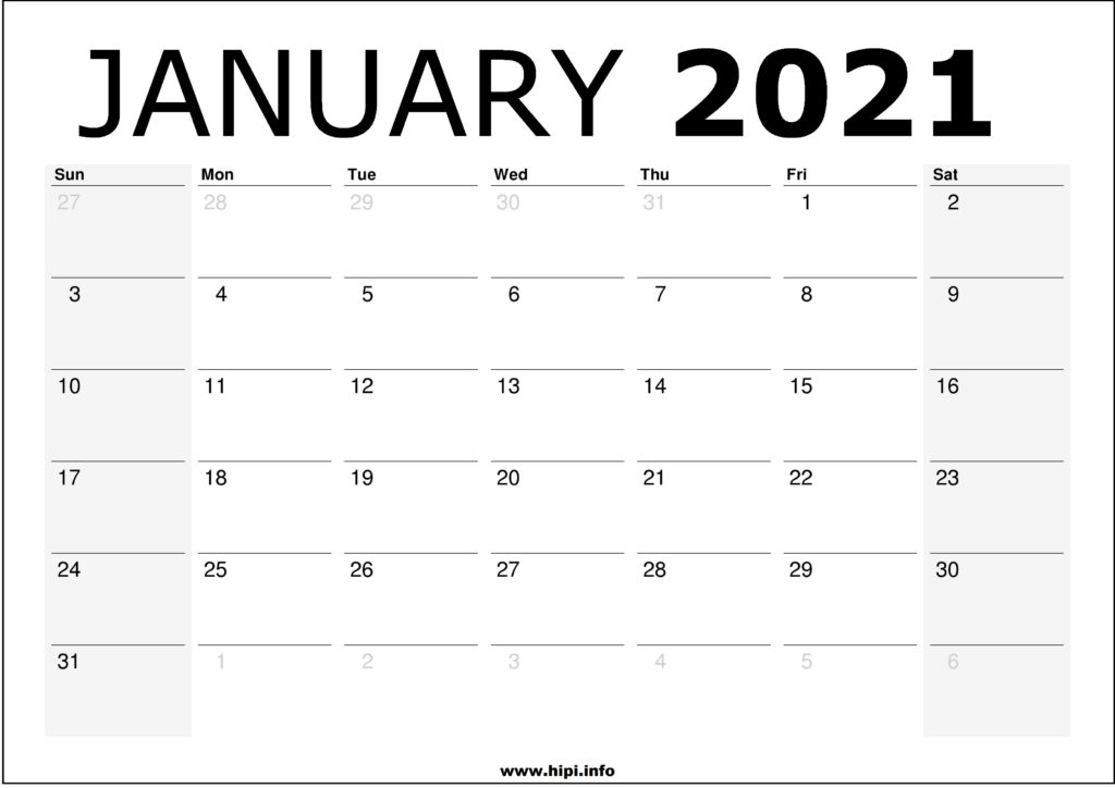 January 2021 Calendar Printable – Monthly Calendar Free Download
