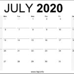 July 2020 Calendar Printable Monthly – Free Download
