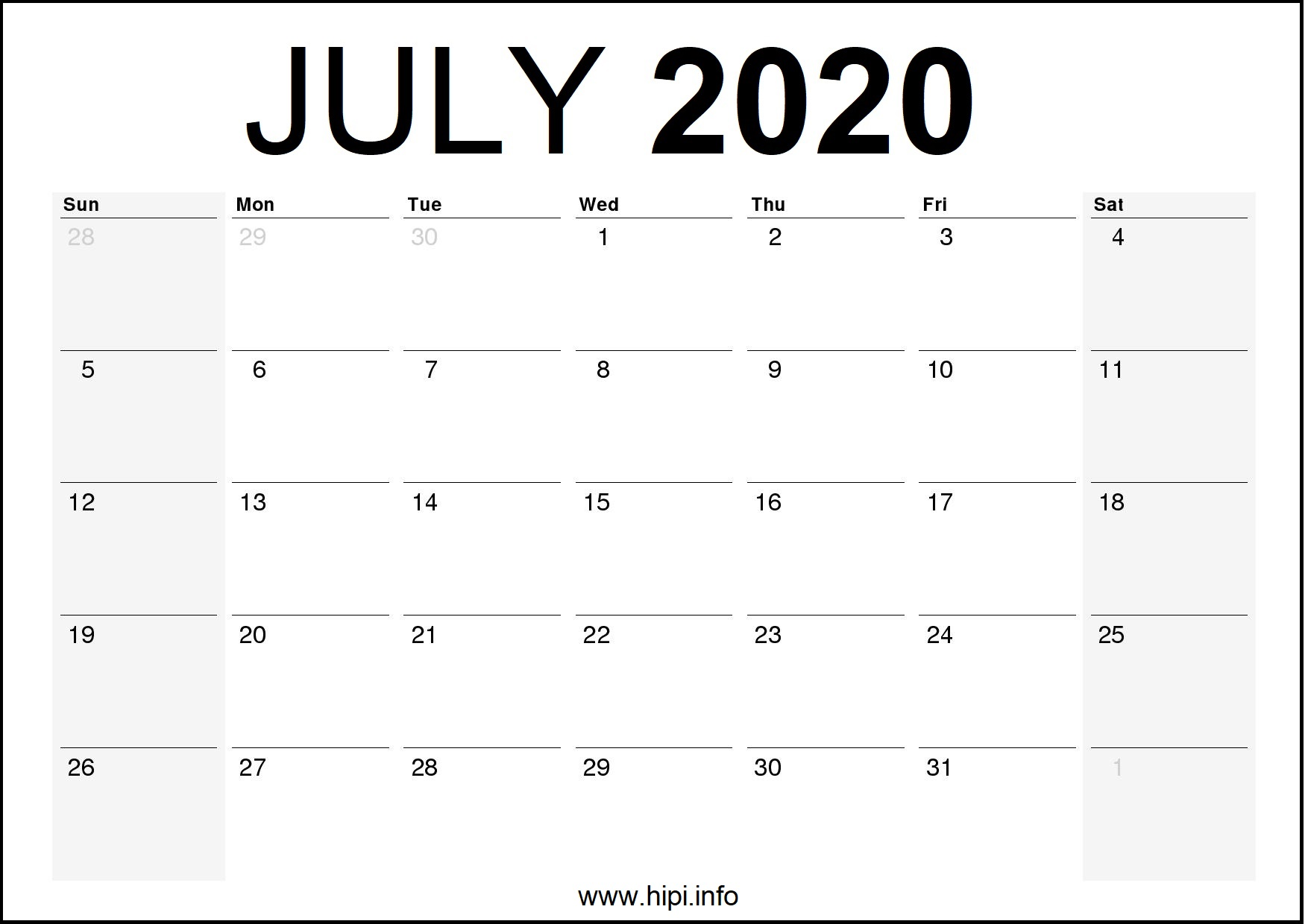 July 2020 Calendar Printable Monthly Free Download Hipi Info