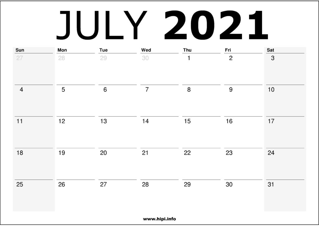 July 2021 Calendar Printable – Monthly Calendar Free Download