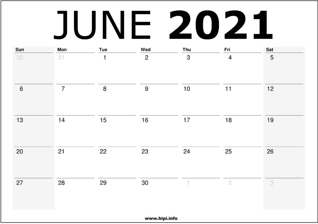 June 2021 Calendar Printable – Monthly Calendar Free Download