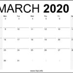 March 2020 Calendar Printable Monthly – Free Download