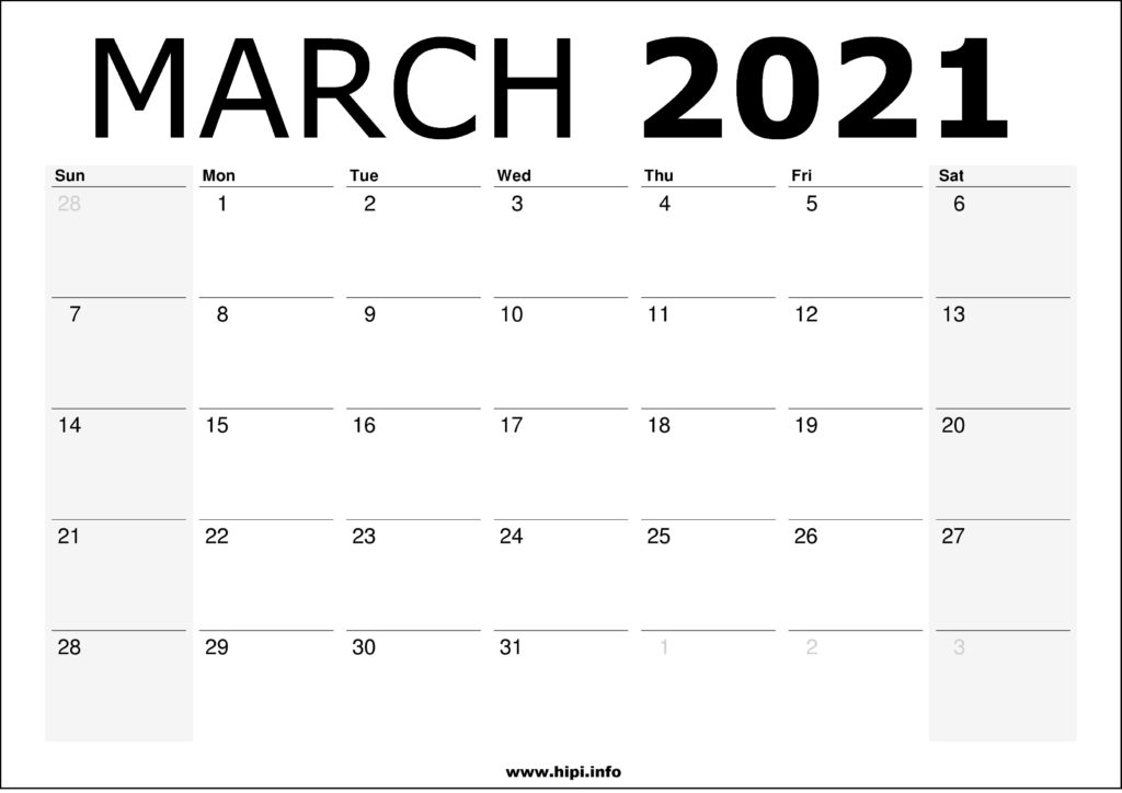 March 2021 Calendar Printable – Monthly Calendar Free Download