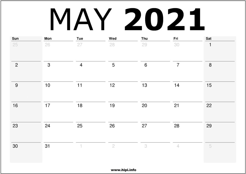 May 2021 Calendar Printable - Monthly Calendar Free ...