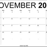 November 2020 Calendar Printable Monthly – Free Download