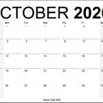 October 2020 Calendar Printable Monthly – Free Download