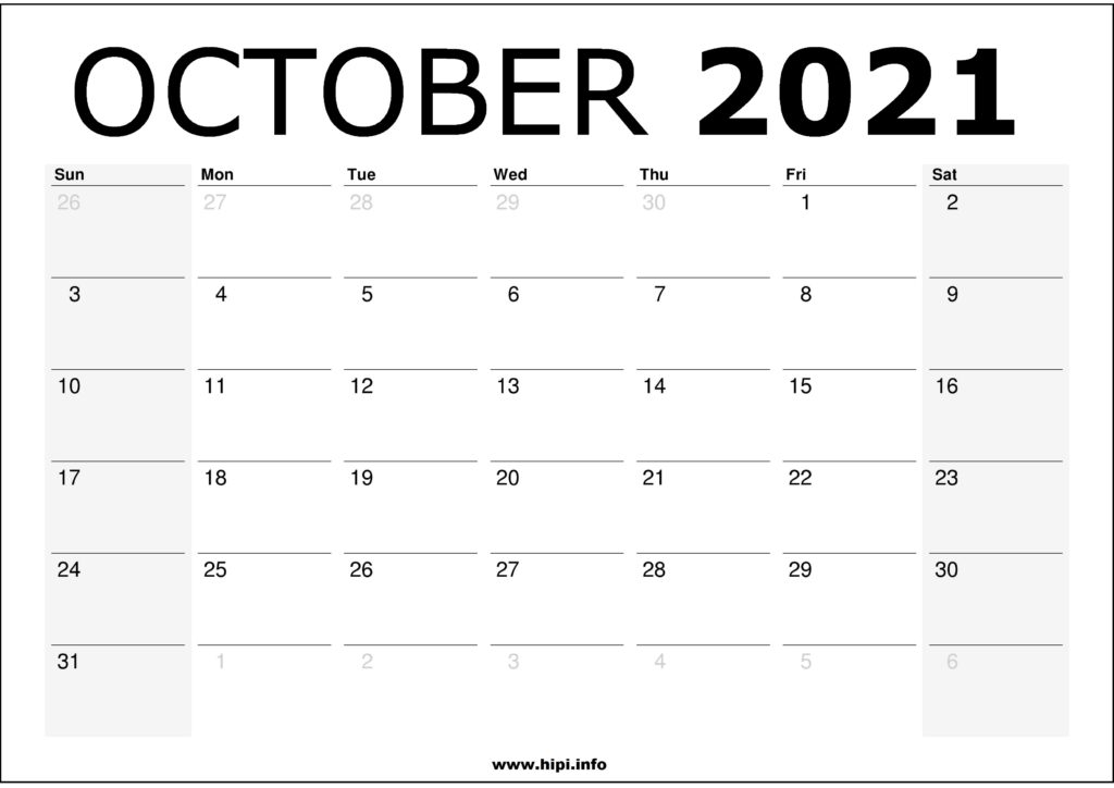 October 2021 Calendar Printable – Monthly Calendar Free Download