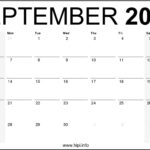 September 2020 Calendar Printable Monthly – Free Download
