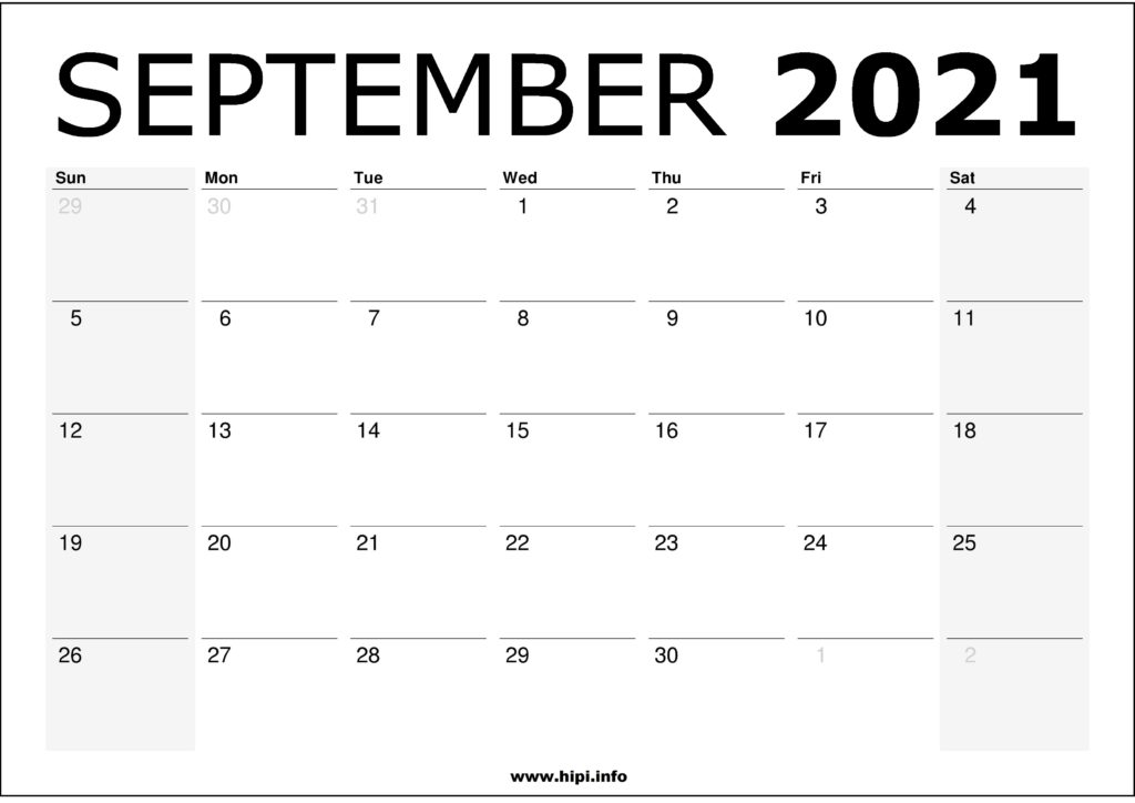 September 2021 Calendar Printable – Monthly Calendar Free Download