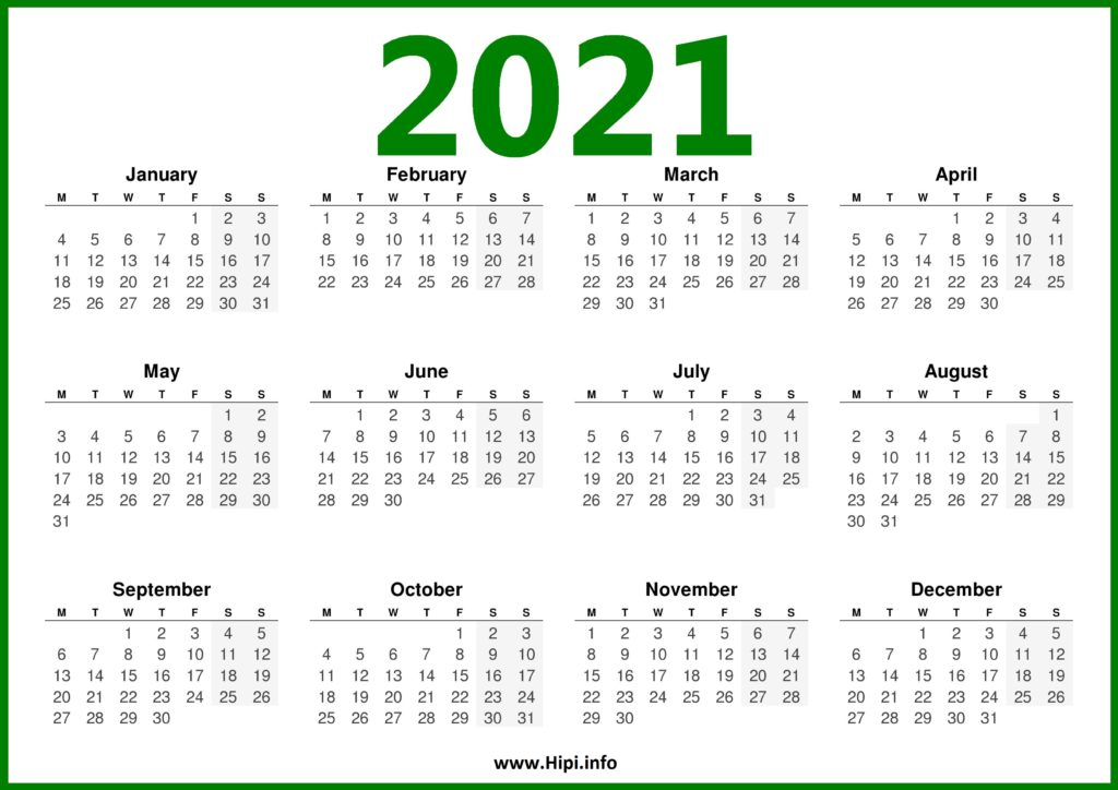 2021 Calendar UK - Monday Start - Hipi.info