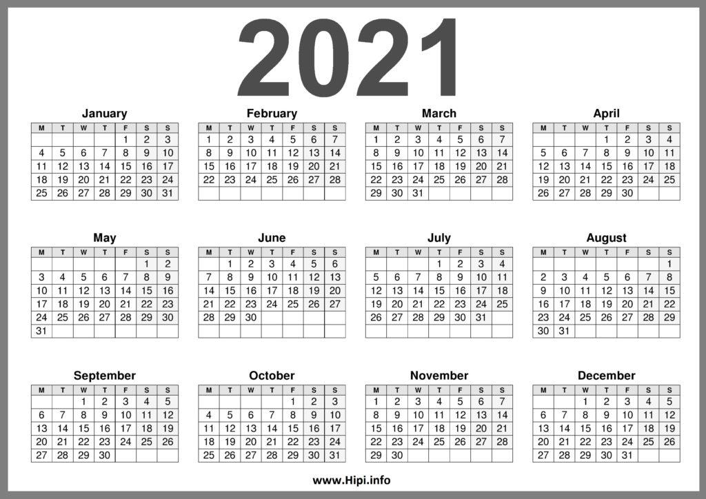 2021 Printable Calendar (UK) United Kingdom