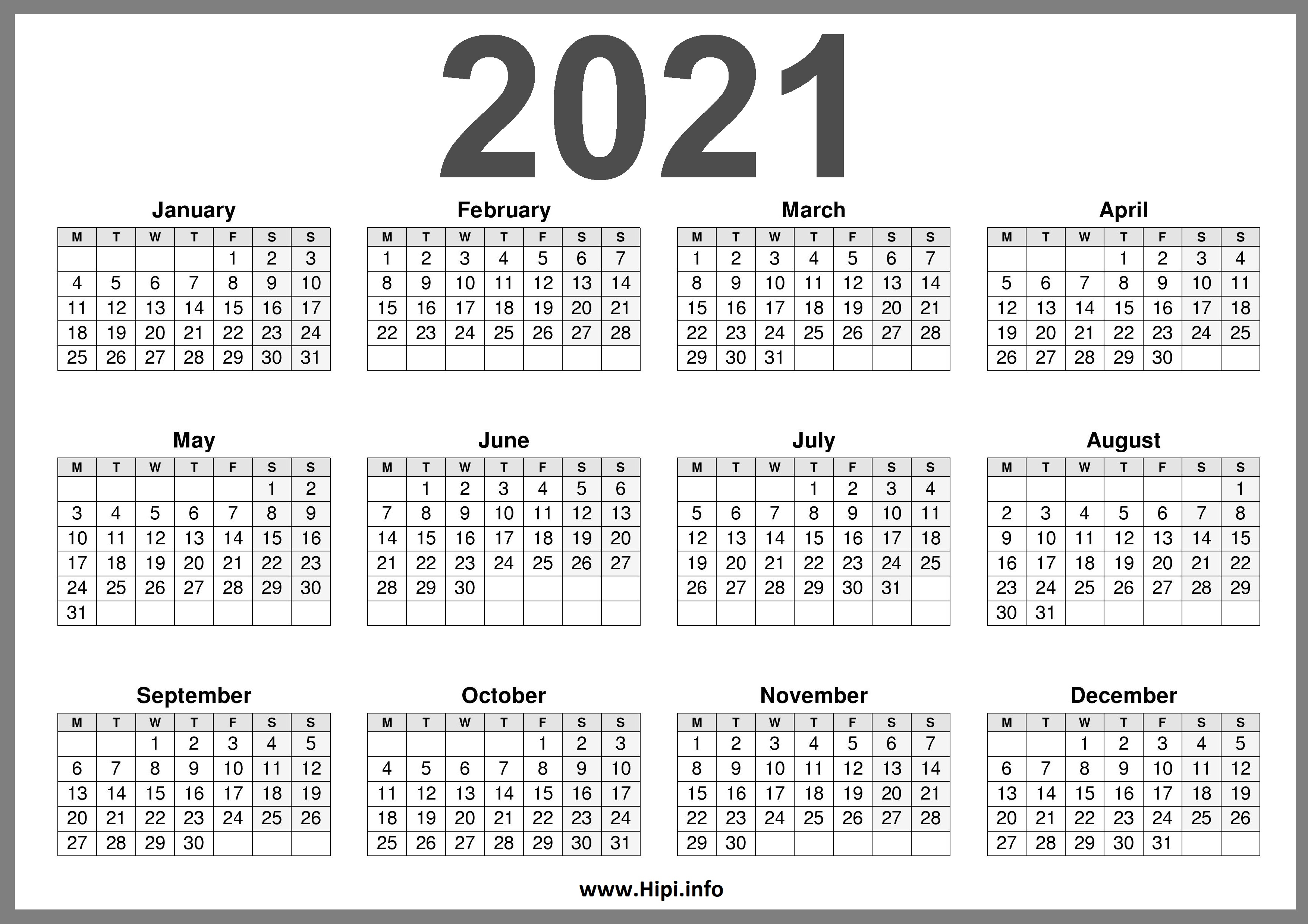 2021 Printable Calendar (UK) United Kingdom - Hipi.info ...
