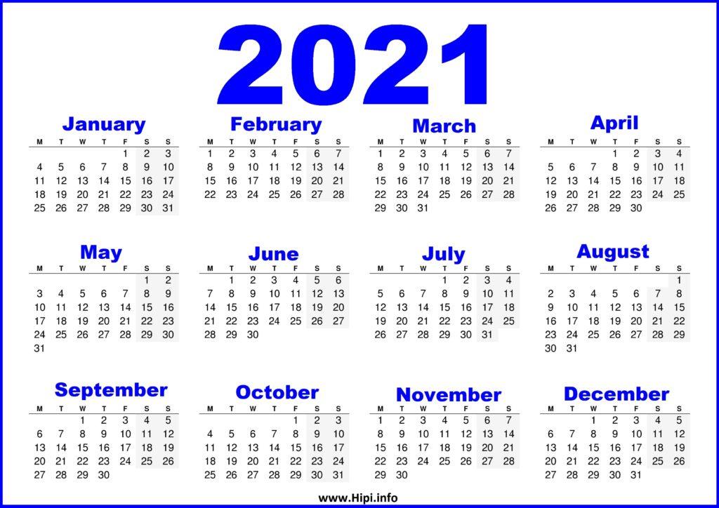 Free Printable Calendar 2021 UK - Blue