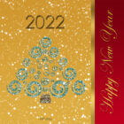 New Year Card 2022, Free Printable – Golden Christmas Trees