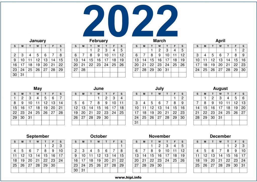 2022 One Page Calendar.2022 Calendar Printable Us One Page Hipi Info Calendars Printable Free