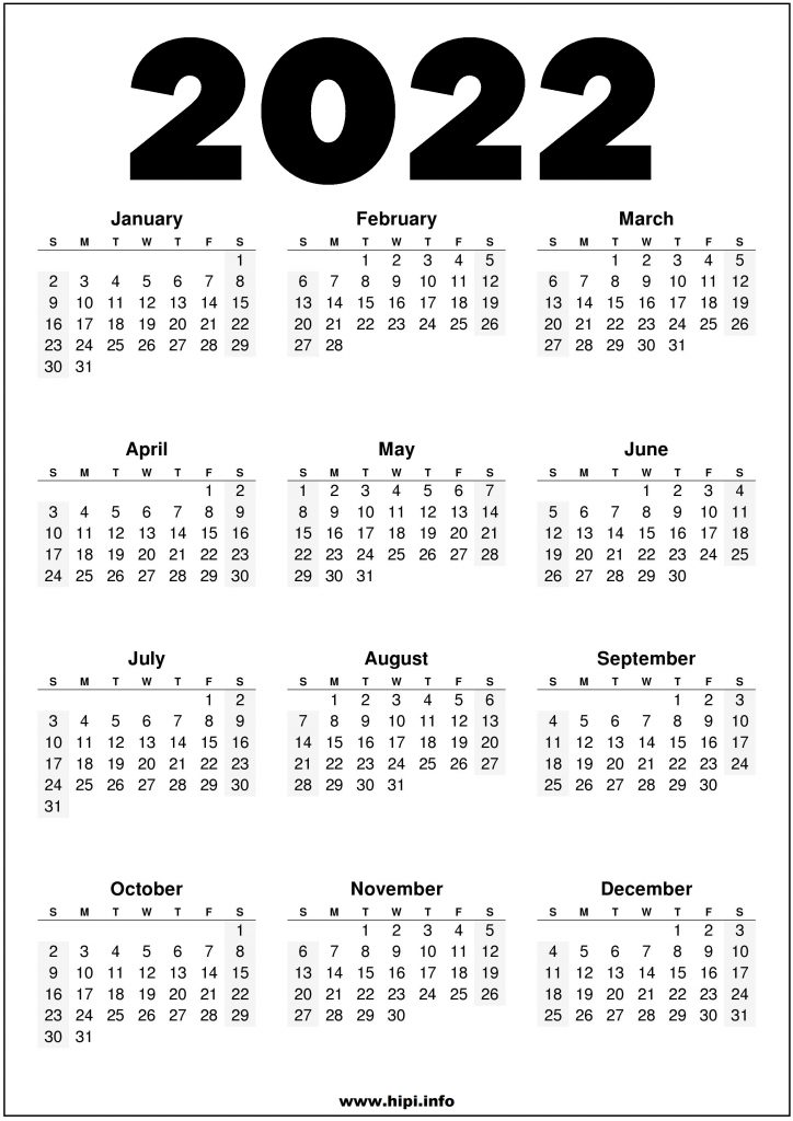 2022 Printable US Calendar Black and White