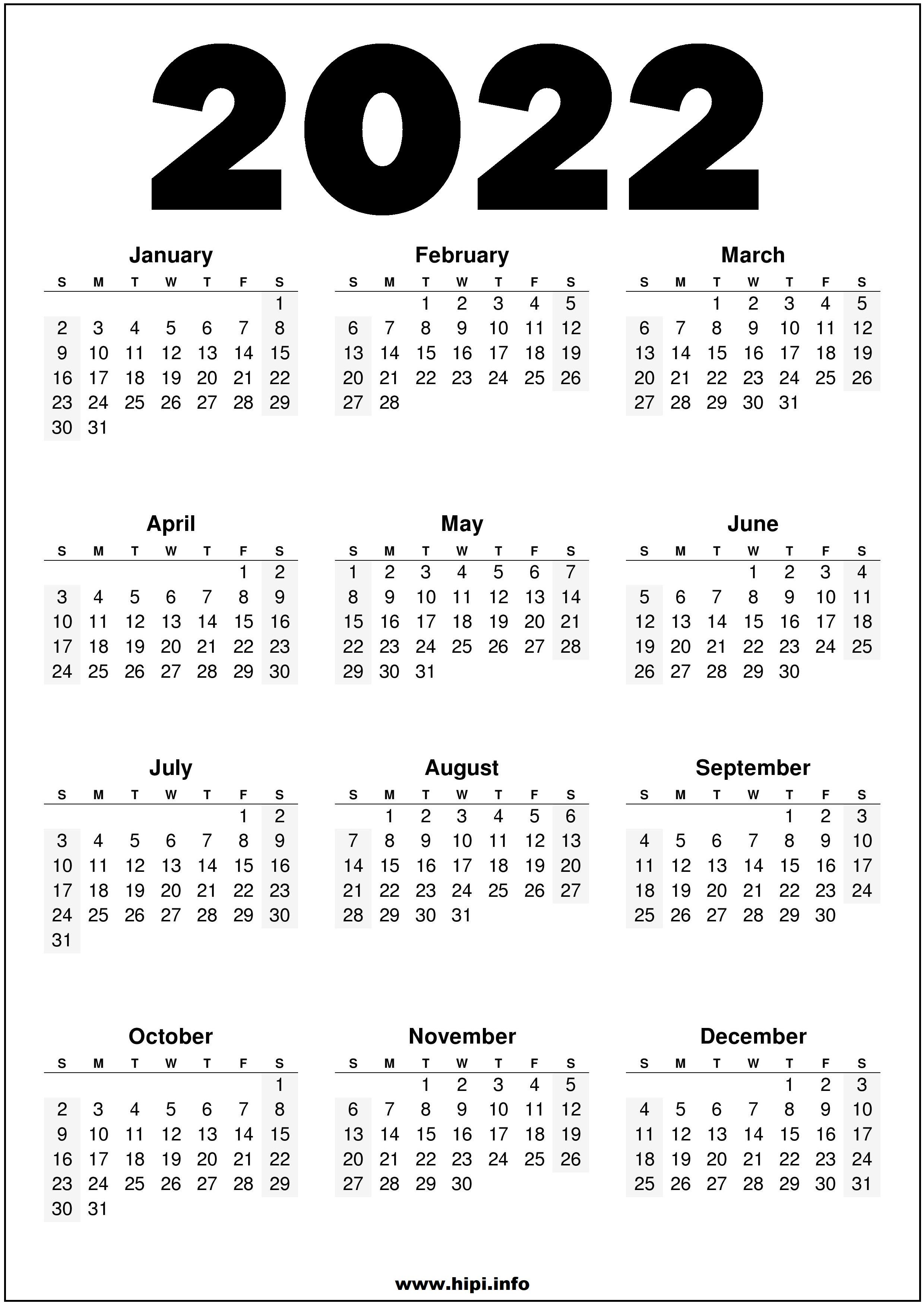 Free Desktop Calendar 2022.2022 Printable Us Calendar Black And White Hipi Info Calendars Printable Free