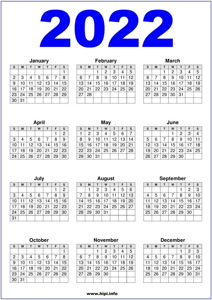 Calendar 2022 US Printable Blue