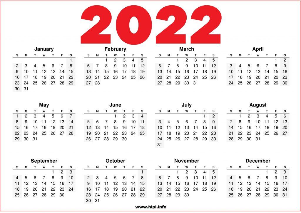 US 2022 Printable Calendar Red