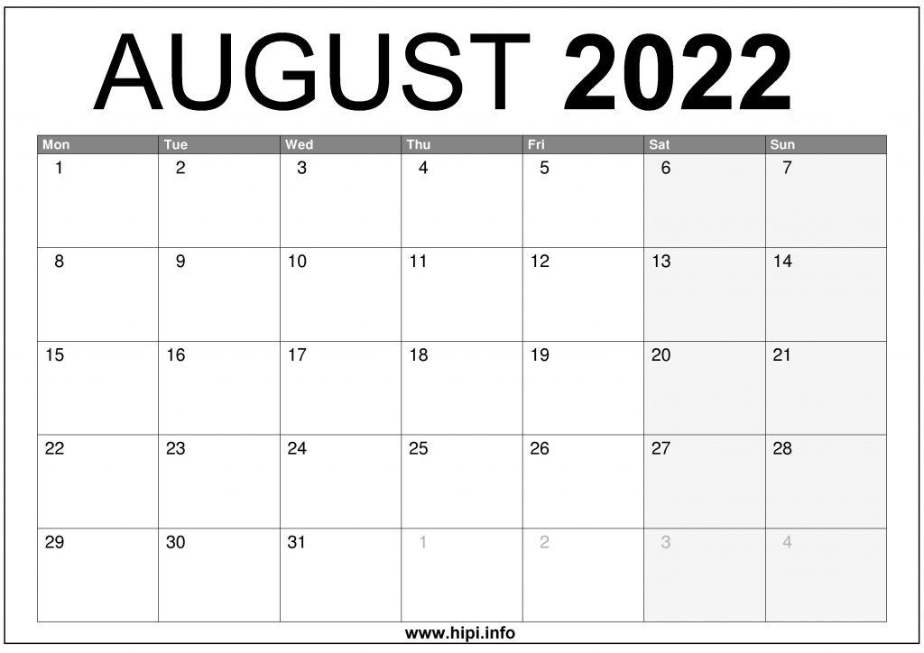 Printable Monthly Calendar August 2022.August 2022 Uk Calendar Printable Free Download Hipi Info Calendars Printable Free