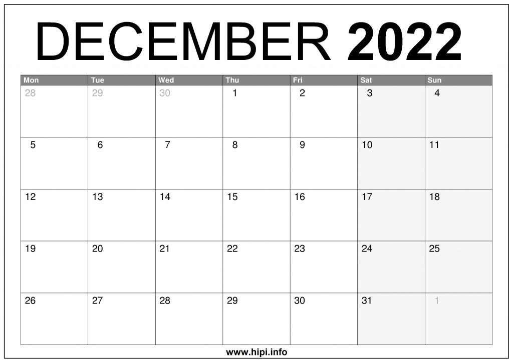 December 2022 UK Calendar Printable – Free Download