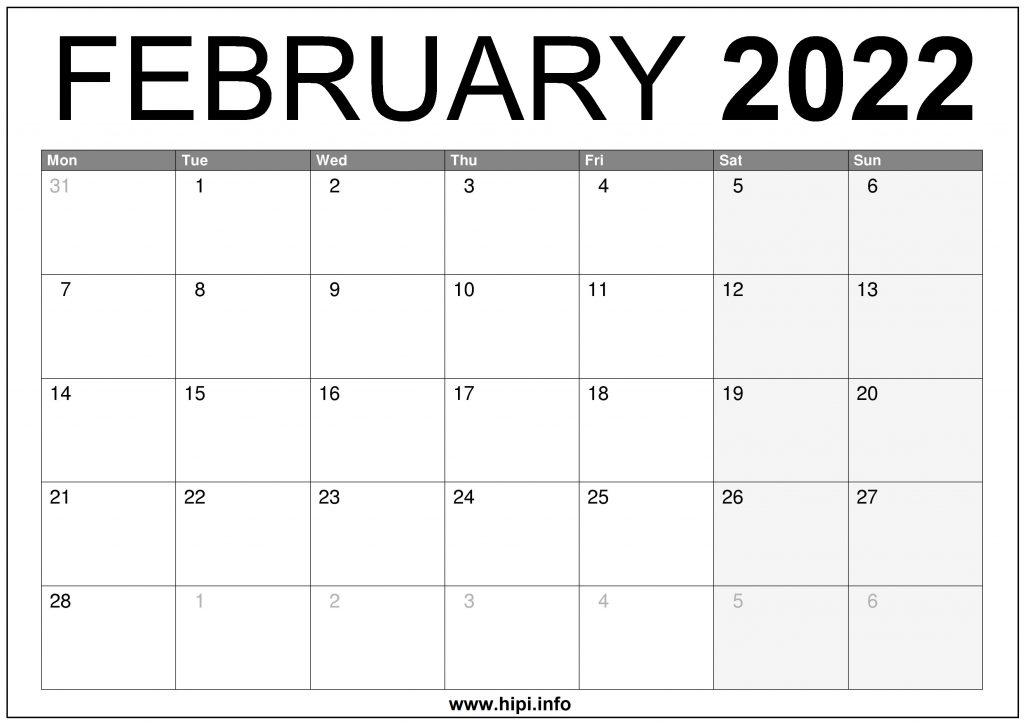 February 2022 UK Calendar Printable – Free Download