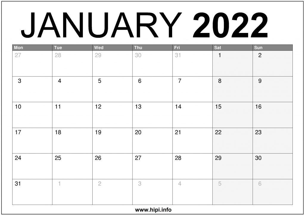 January 2022 UK Calendar Printable – Free Download