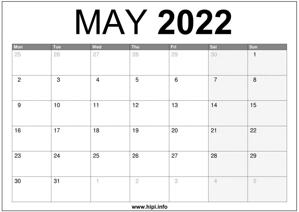 May 2022 UK Calendar Printable Free