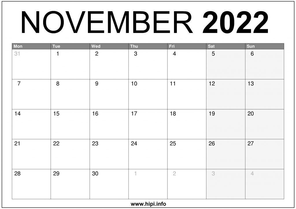 November 2022 UK Calendar Printable Free
