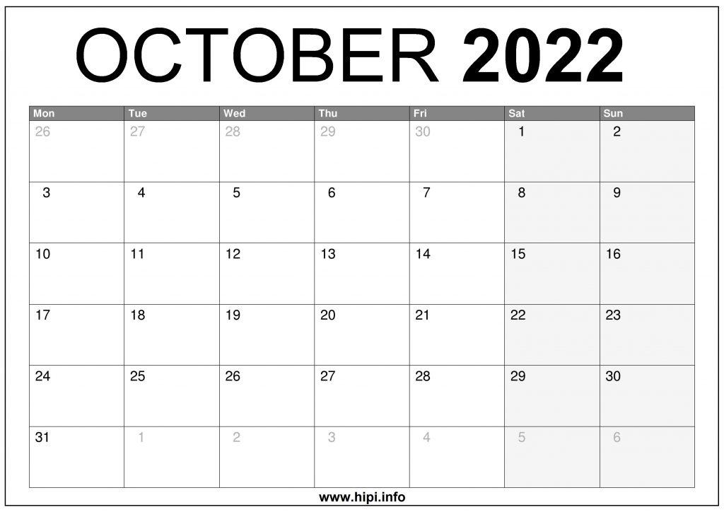 October 2022 UK Calendar Printable Free