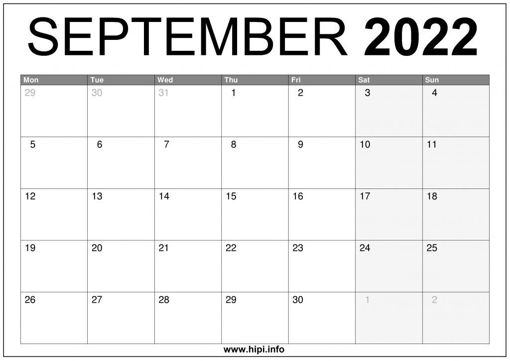 September 2022 UK Calendar Printable Free