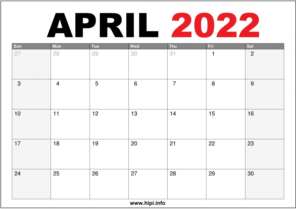 April 2022 US Calendar Printable