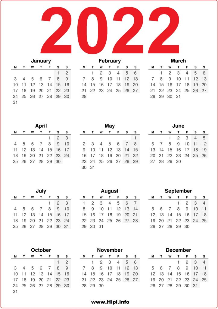 2022 Printable Calendar UK United Kingdom