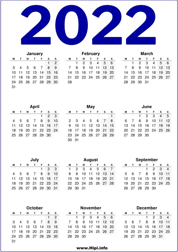 Free Printable 2022 Calendar United Kingdom UK