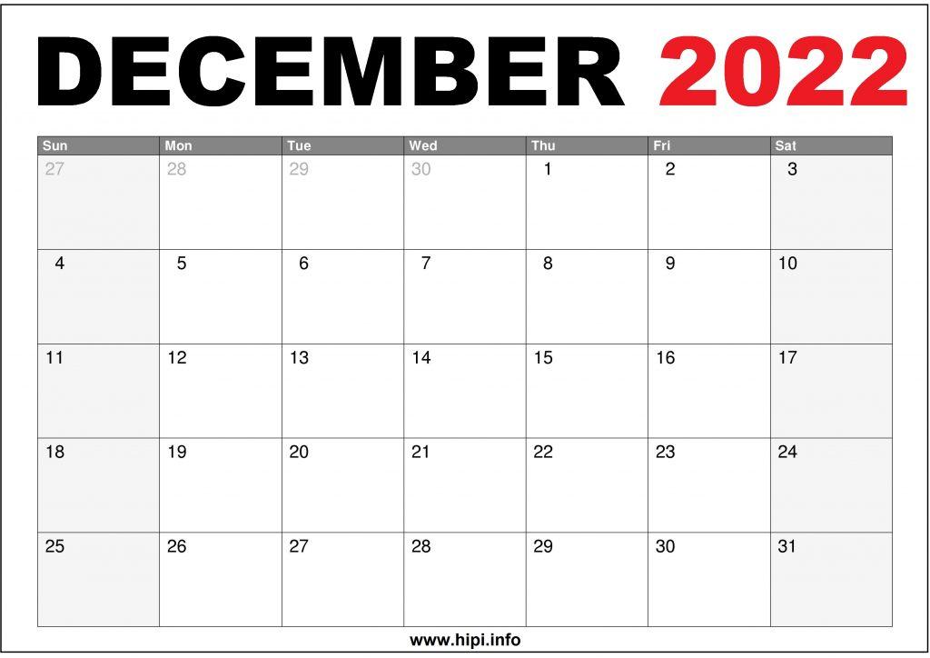 December 2022 US Calendar Printable