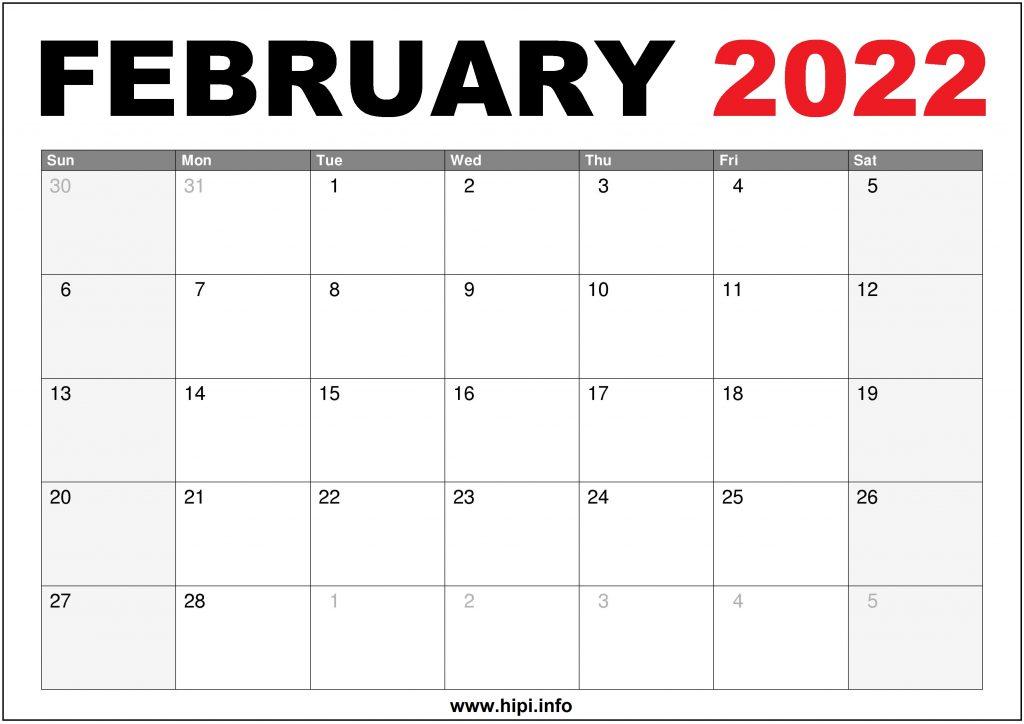 2022 February Calendar US Printable