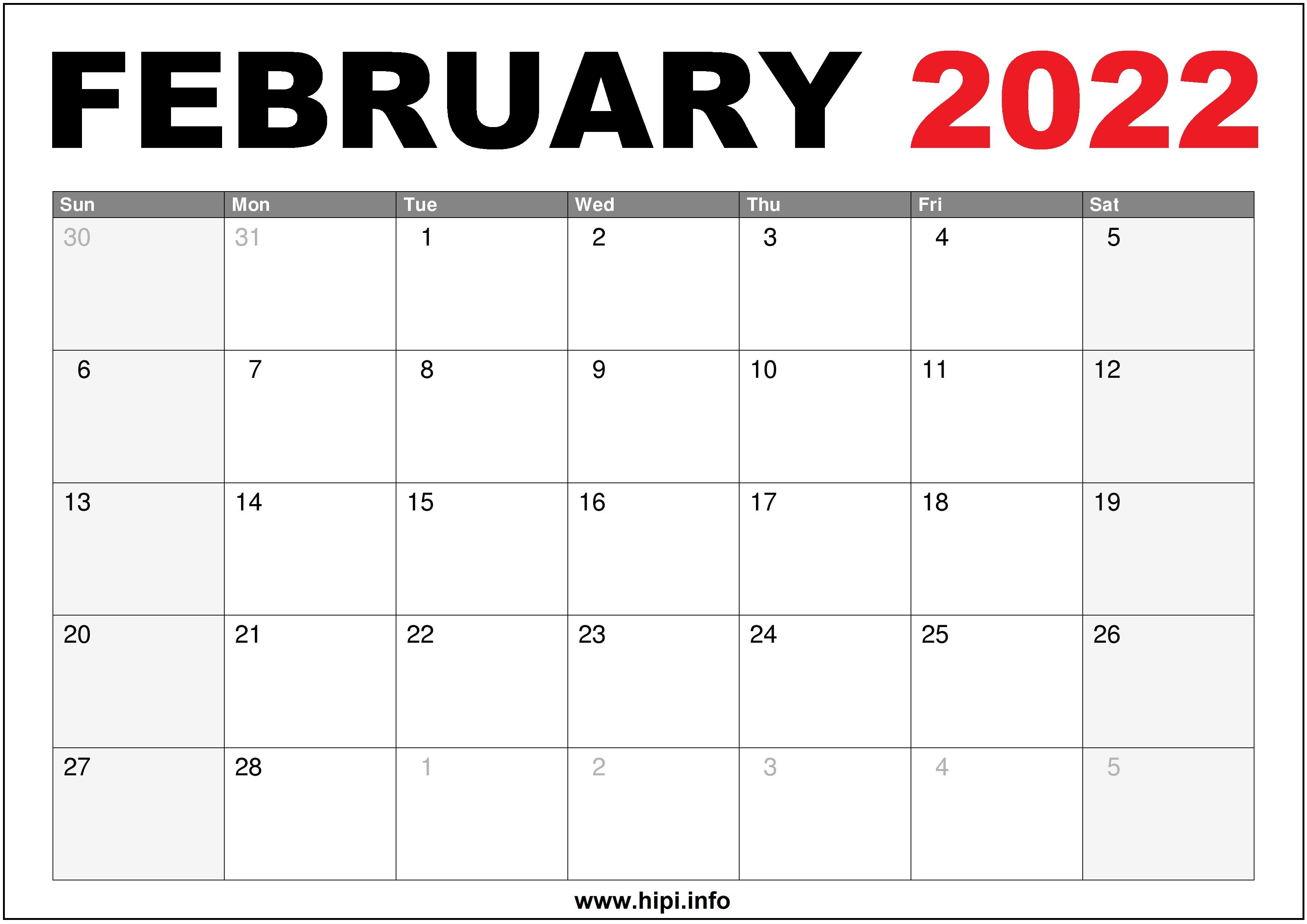 2022 February Calendar Us Printable Hipi Info Calendars Printable Free
