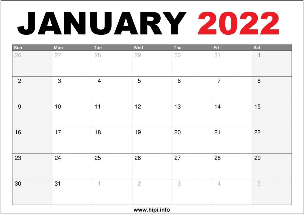 January 2022 Calendar US Printable